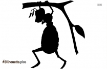 Cartoon Ant Eating Watermelon Silhouette