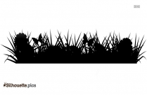 Cartoon Grasses Silhouette Background