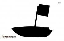 Cartoon Boat With Flag Silhouette