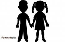 Cartoon Boy And Girl Holding Hands Silhouette Clipart