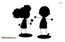 Cartoon Boy And Girl Silhouette Drawing