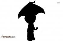 Cartoon Boy With An Umbrella Silhouette