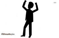 Cartoon Business Man Excited Hold Hands Silhouette