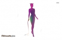Cartoon Catwoman With Whip Silhouette