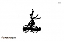 Cartoon Circus Man Riding Bicycle Clipart, Circus Dog On Man Head Silhouette