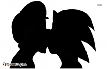 Cartoon Couple Kissing Silhouette Image