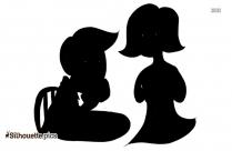 Cartoon Couple Speaking Silhouette