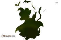 Halloween Witch Flying With Broom Silhouette
