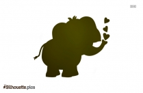 Cartoon Elephant Heart Silhouette