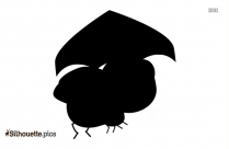 Cartoon Fly With Umbrella Silhouette