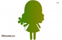 Cartoon Girl Holding Flower Silhouette