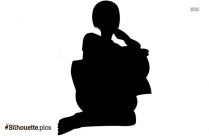 Cartoon Girl Reading Silhouette