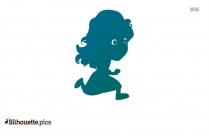 Cartoon Girl Running Silhouette Clipart
