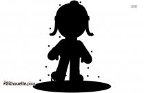 Girl Playing With Leaves Silhouette