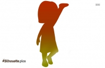 Cartoon Girl With Raised Hands Silhouette