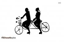 Cartoon Girls Riding Bicycle Silhouette