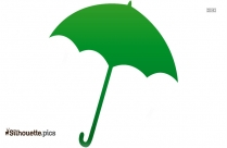 Cartoon Green Umbrella Silhouette
