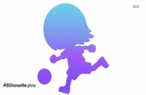 Cartoon Little Girl Playing With Ball Silhouette