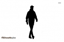 Cartoon Man Wearing Bandana On Head Silhouette