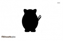 Cartoon Pig Silhouette Black And White