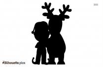 Cartoon Reindeer And Santa Claus Silhouette