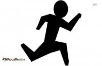 Running Stickman Clipart Silhouette