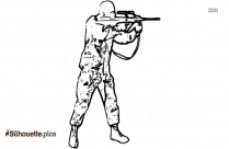 Cartoon Military Soldier Silhouette Clipart Image