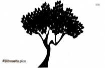 Cartoon Tree With Roots Silhouette