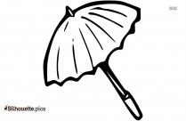 Cartoon Umbrella Outline Silhouette