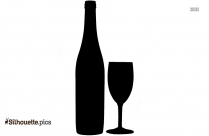 Cartoon Wine Bottle And Glass Silhouette