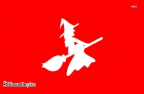 Flying Witch With Broom Silhouette Clipart