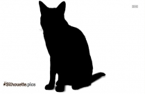 Free Cartoon Cat Sitting Silhouette