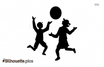Children Playing Ball Silhouette