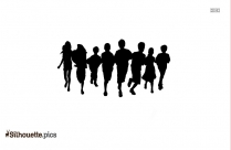 Children Running Silhouette Image