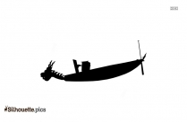Black And White Fishing Boat Silhouette