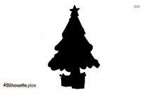 Cute Christmas Tree With Star Silhouette
