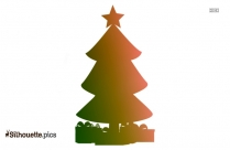 Christmas Tree With Presents Vector Silhouette
