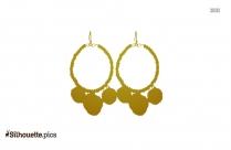 Circle Beaded Fuzz Ball Hook Earrings Silhouette