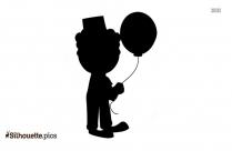 Circus Boy With Balloon Silhouette