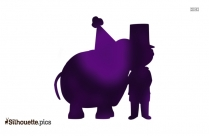 Cartoon Circus Elephant Playing Violin Silhouette