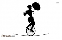 Circus Unicycle Performer Silhouette Clipart