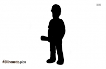 Construction Worker Pushing Wheelbarrow Silhouette Drawing