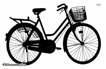 Ladies Bicycle Silhouette Image And Vector