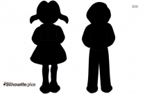 Three Kids Playing Vector Silhouette