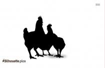 Cock And Chicken Silhouette