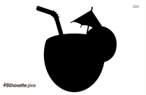 Coconut Tropical Drink Clipart Silhouette