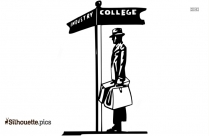 College Industry Crossroads Clip Art Silhouette