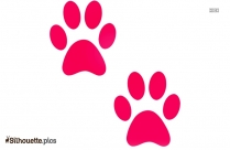 Colorful Cartoon Dog Paw Print Silhouette