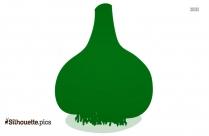 Colorful Cartoon Garlic Silhouette