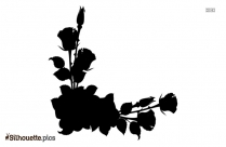 Corner Rose Border Silhouette Drawing